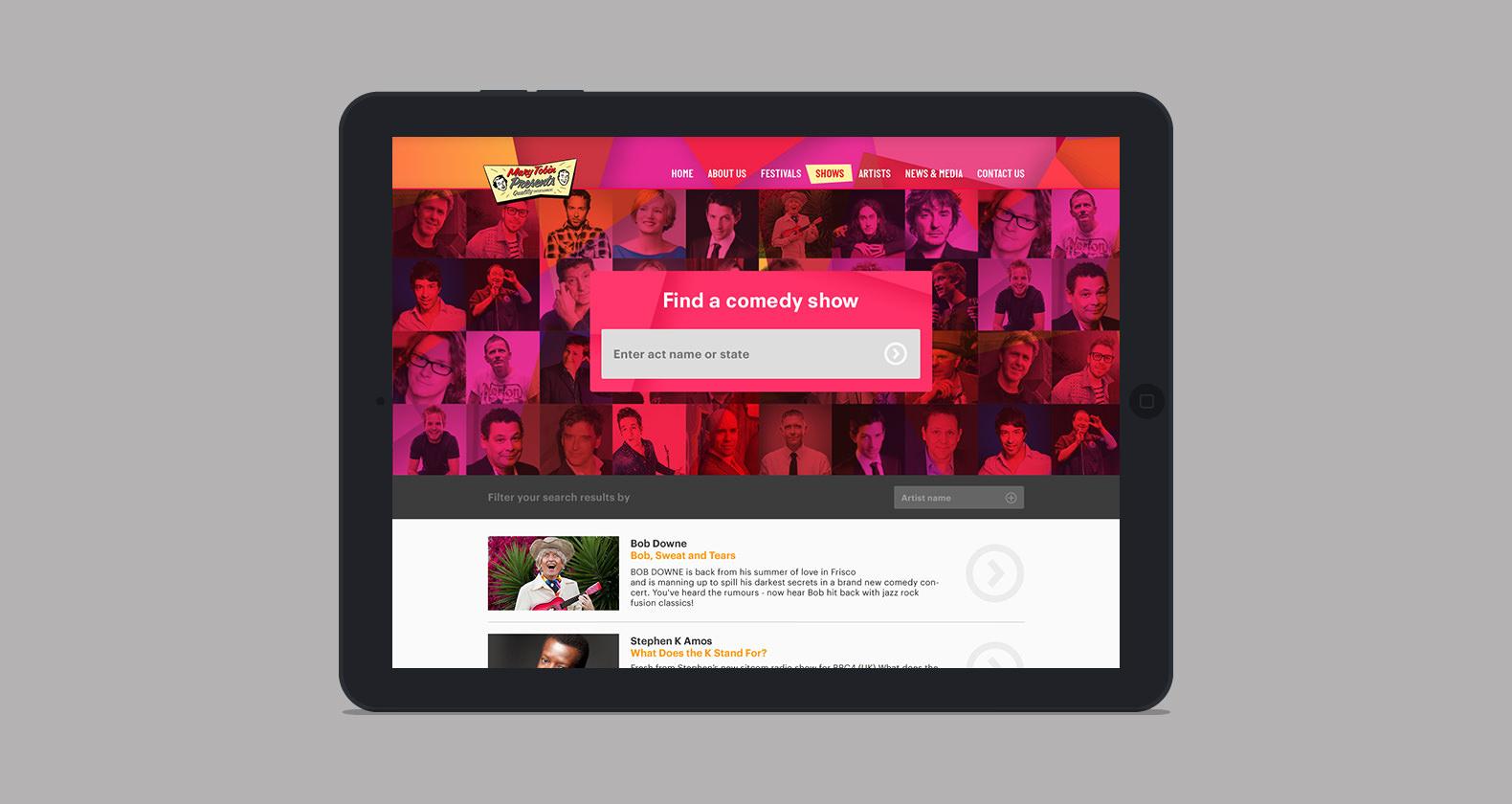 Mary Tobin Presents - web design, responsive mobile design