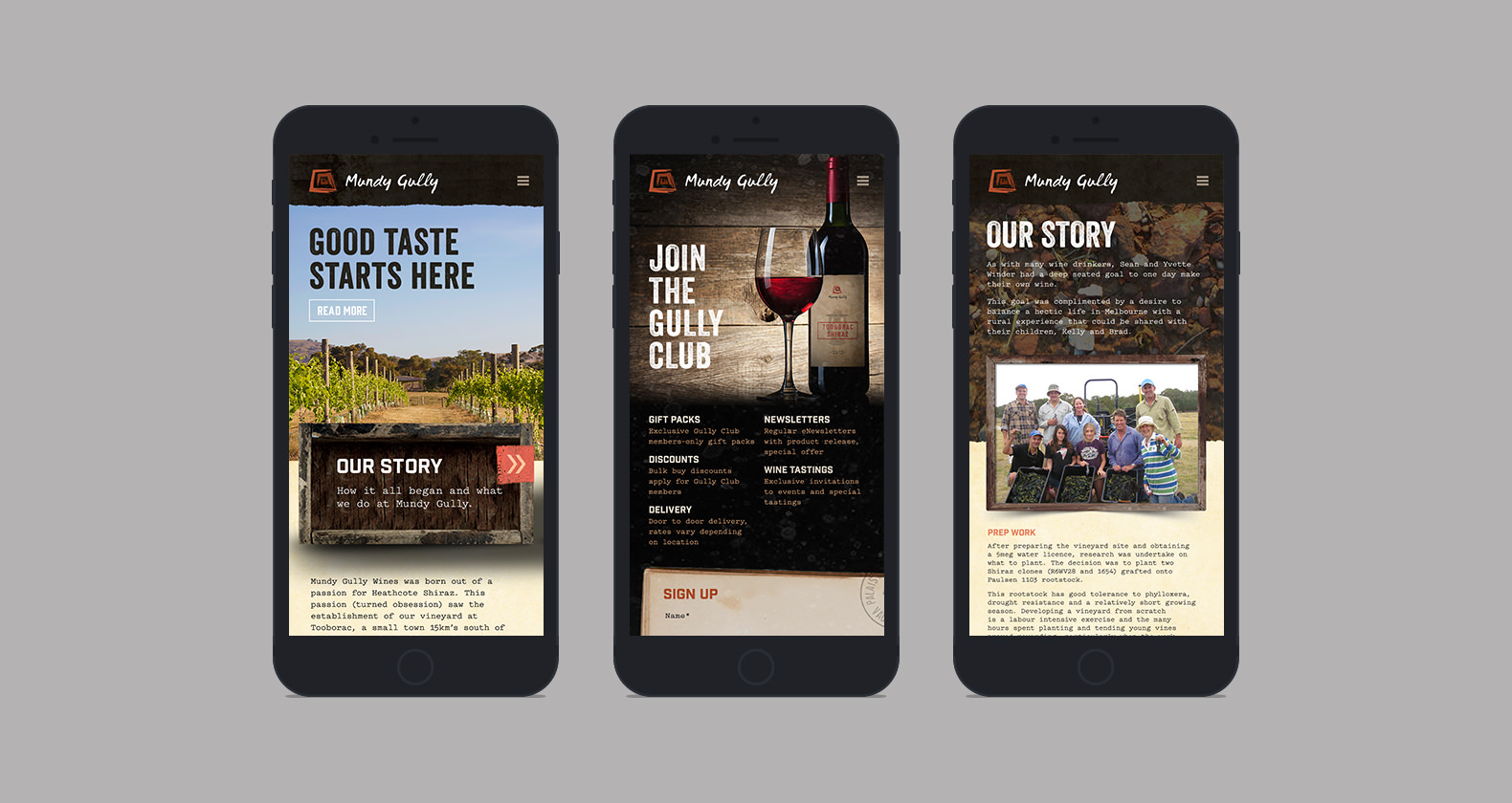 Mundy Gully - Responsive web design, mobile site