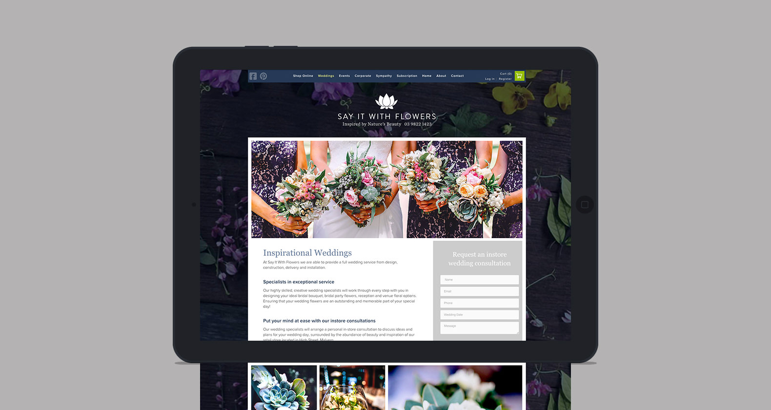 Say it with Flowers - website design